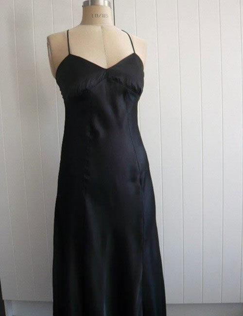 Satin---Long-satin-panel-chemise,-black